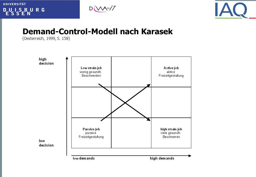 Demand-Control-Modell nach Karasek (Oesterreich, 1999, S. 158)