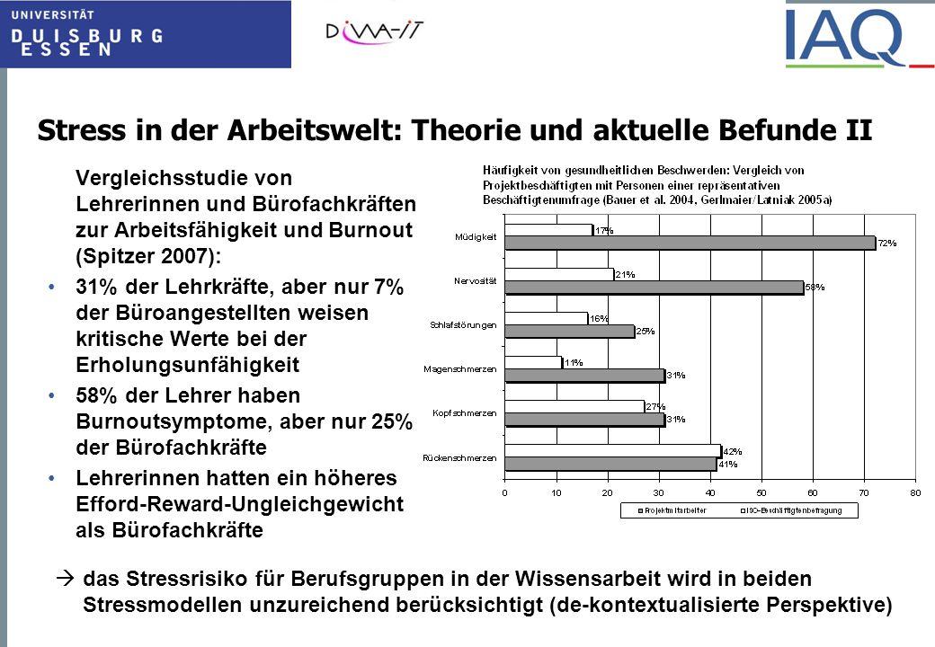 Stress in der Arbeitswelt: Theorie und aktuelle Befunde II