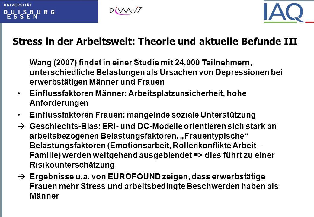 Stress in der Arbeitswelt: Theorie und aktuelle Befunde III