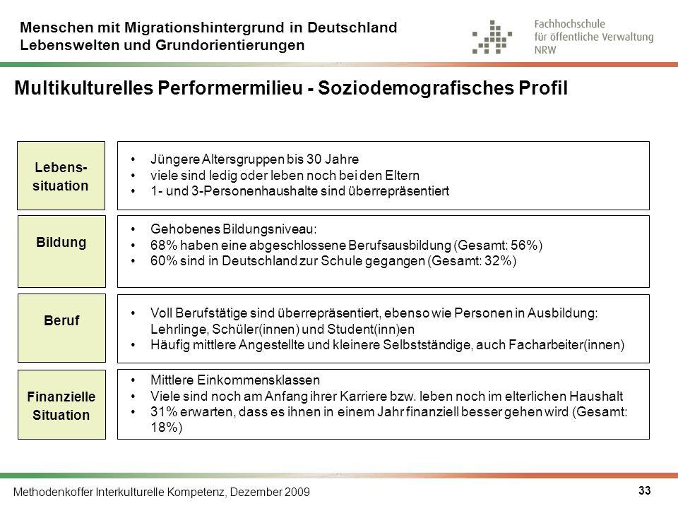 Multikulturelles Performermilieu - Soziodemografisches Profil