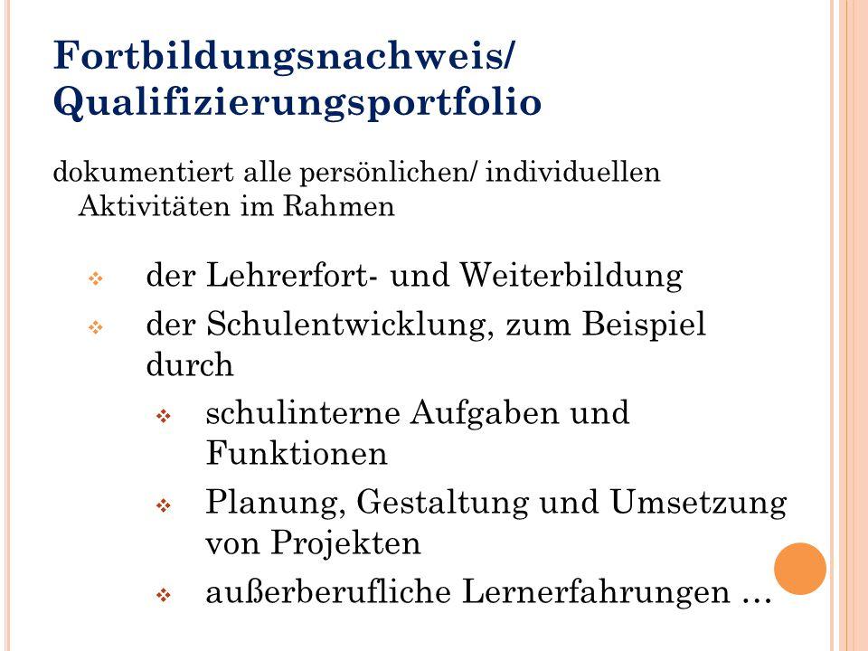Fortbildungsnachweis/ Qualifizierungsportfolio