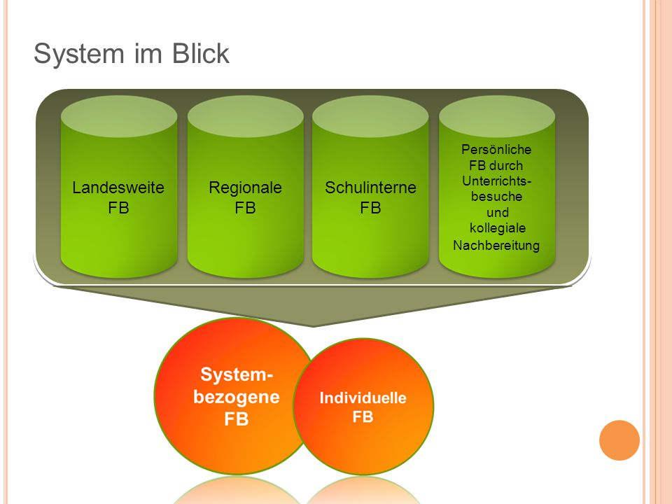 System im Blick Landesweite FB Regionale FB Schulinterne FB