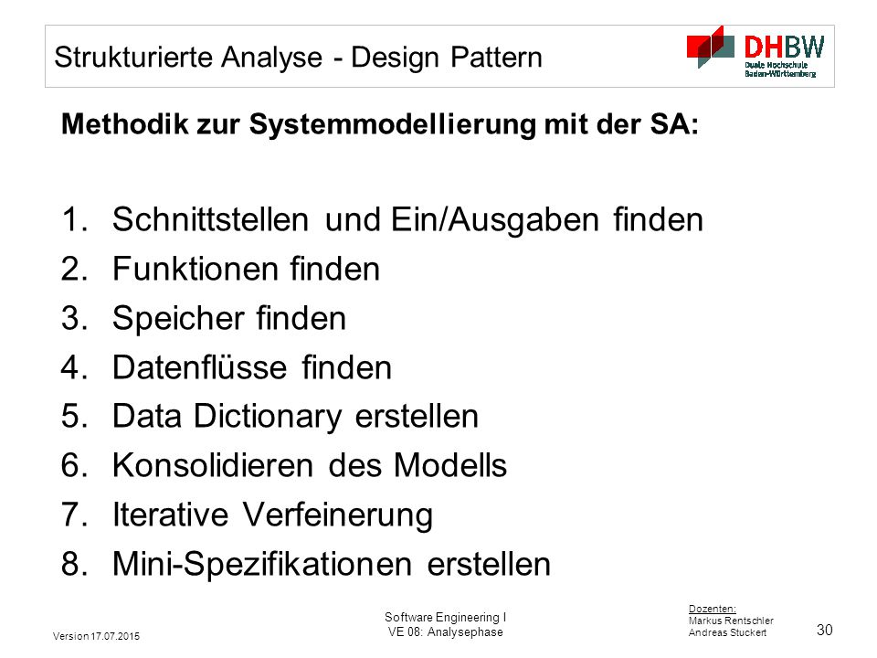 Strukturierte Analyse - Design Pattern