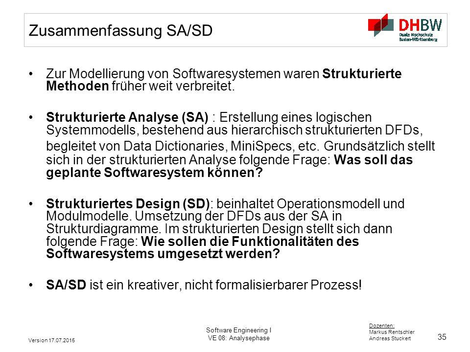 Zusammenfassung SA/SD