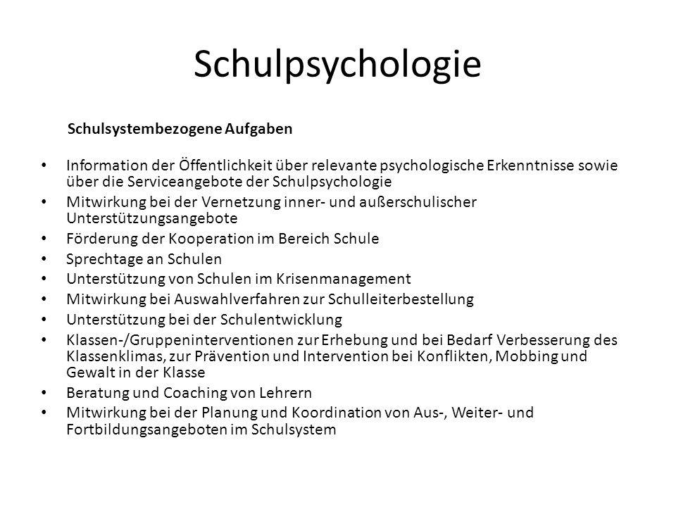 Schulpsychologie Schulsystembezogene Aufgaben