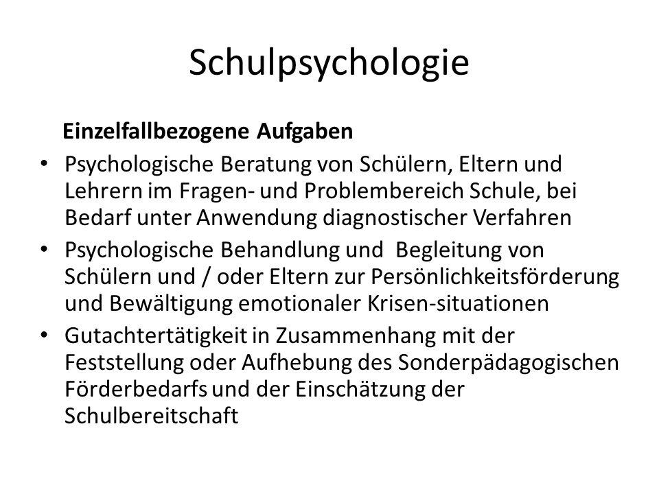 Schulpsychologie Einzelfallbezogene Aufgaben