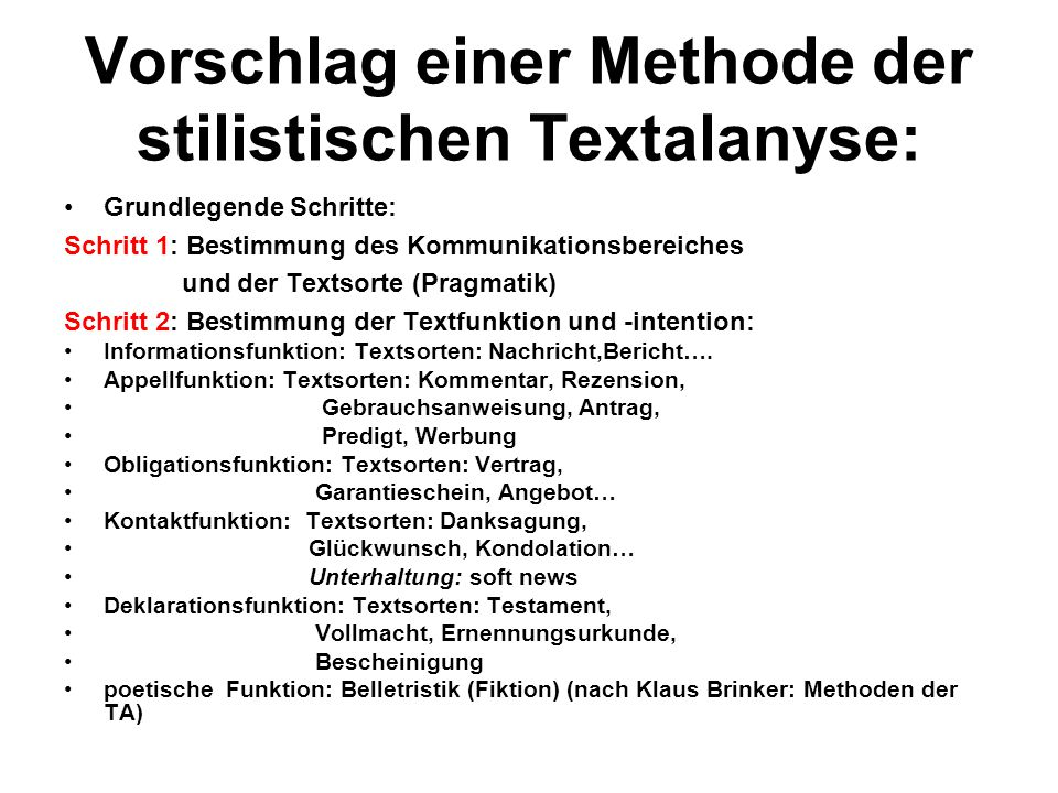 Vorschlag einer Methode der stilistischen Textalanyse: