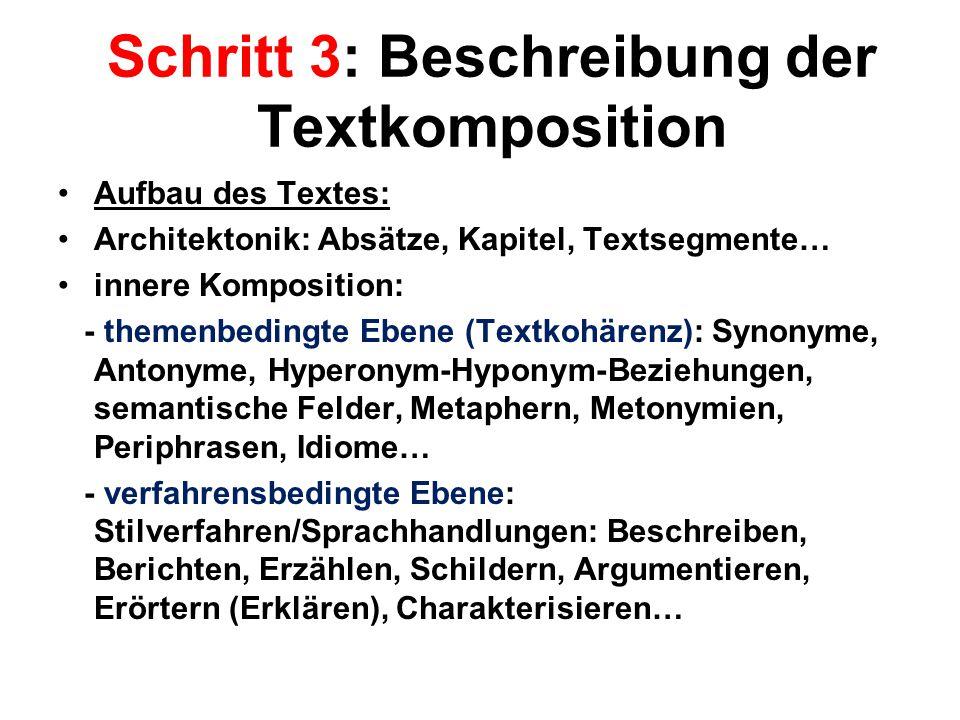 Schritt 3: Beschreibung der Textkomposition