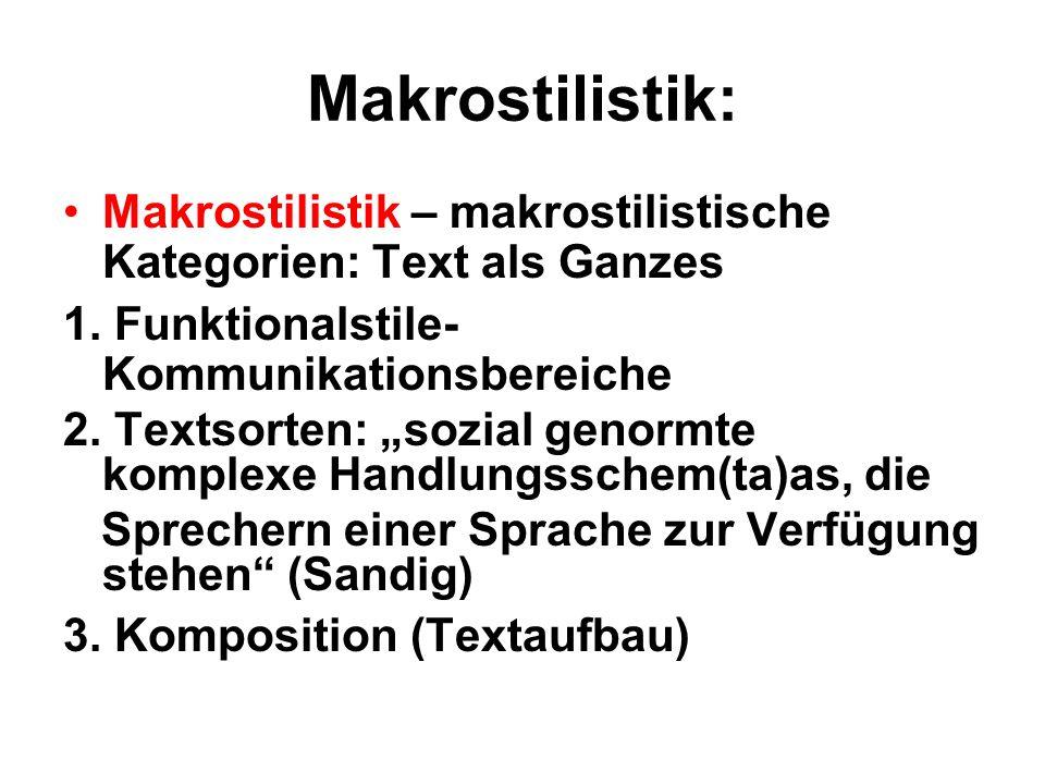 Makrostilistik: Makrostilistik – makrostilistische Kategorien: Text als Ganzes. 1. Funktionalstile-Kommunikationsbereiche.
