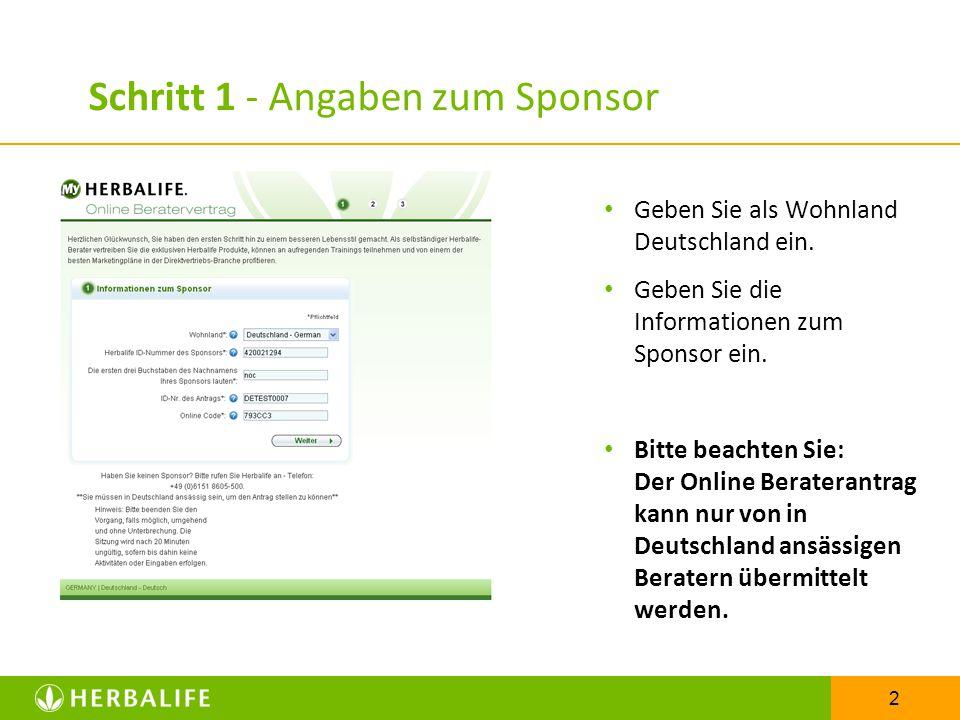 Schritt 1 - Angaben zum Sponsor