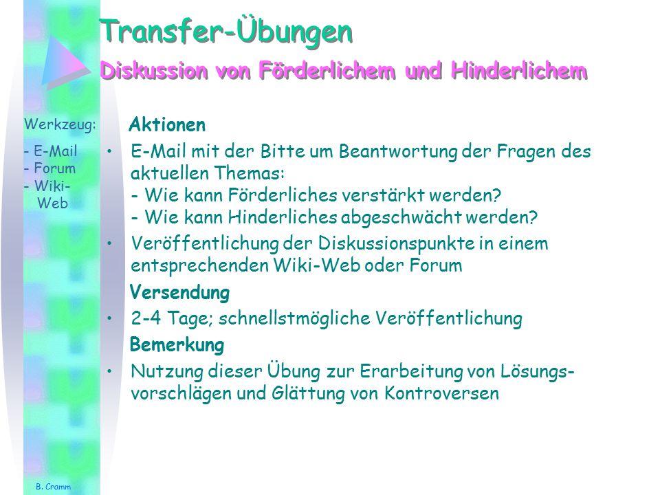 Transfer-Übungen Diskussion von Förderlichem und Hinderlichem Aktionen