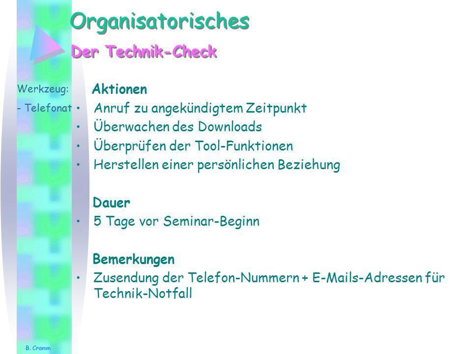 Organisatorisches Der Technik-Check Aktionen