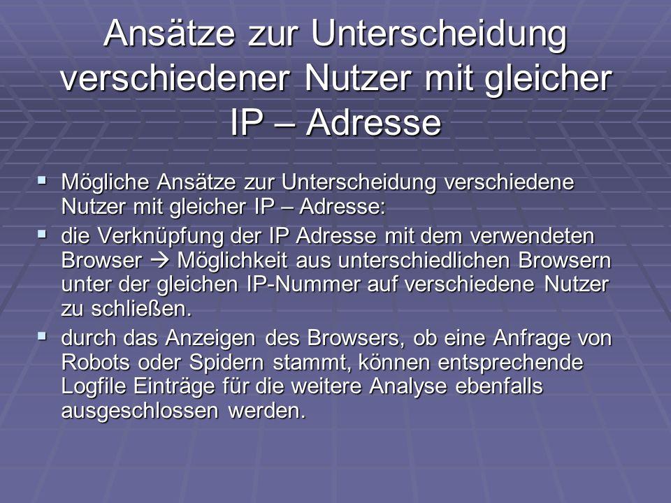 Ansätze zur Unterscheidung verschiedener Nutzer mit gleicher IP – Adresse