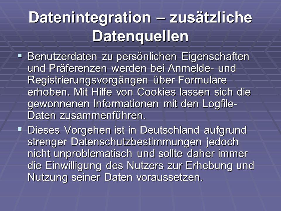 Datenintegration – zusätzliche Datenquellen