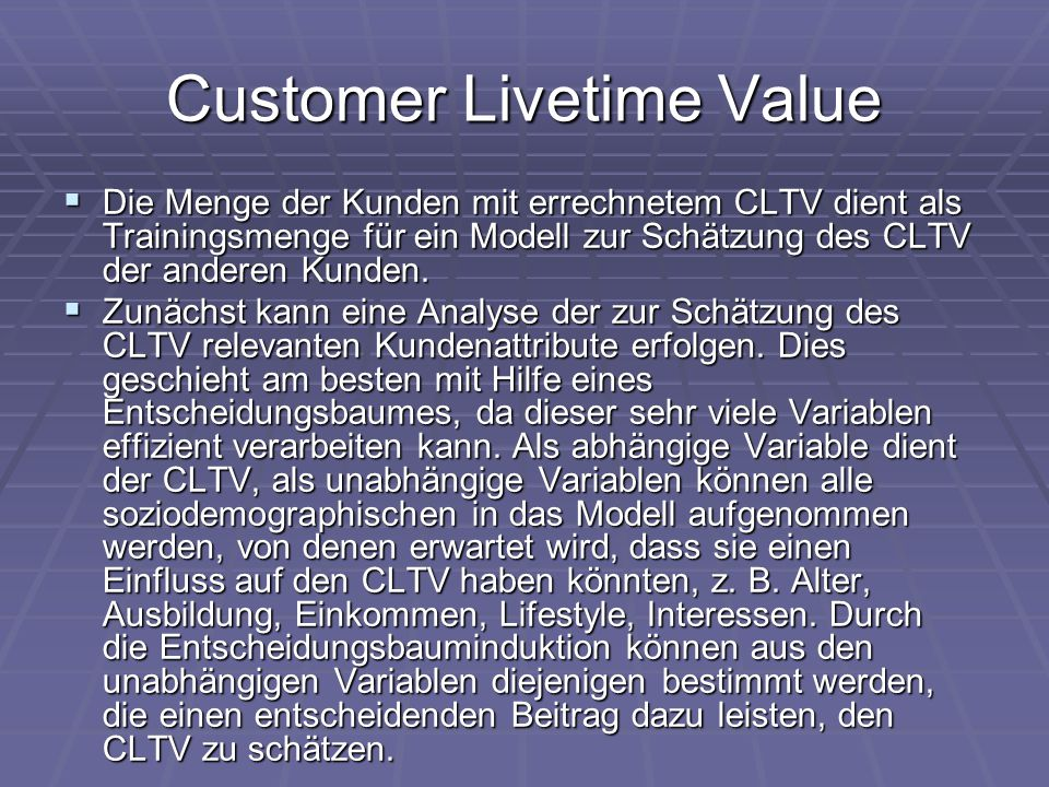 Customer Livetime Value