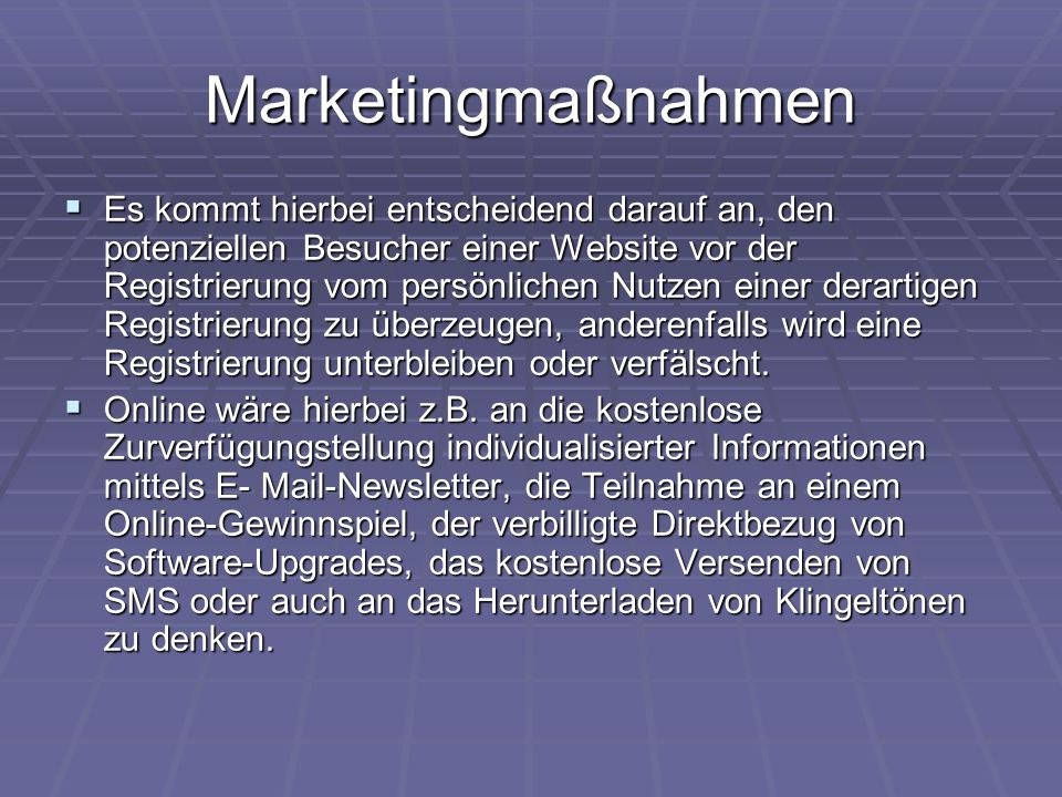 Marketingmaßnahmen