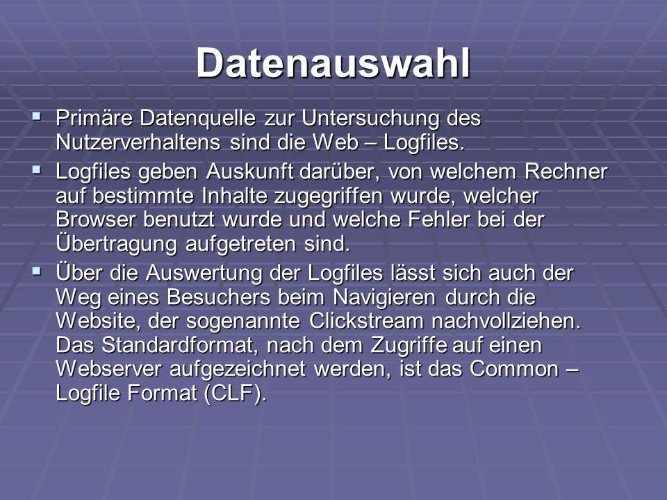 Datenauswahl Primäre Datenquelle zur Untersuchung des Nutzerverhaltens sind die Web – Logfiles.