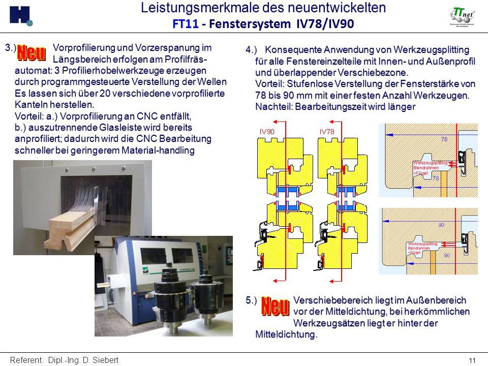 Leistungsmerkmale des neuentwickelten FT11 - Fenstersystem IV78/IV90