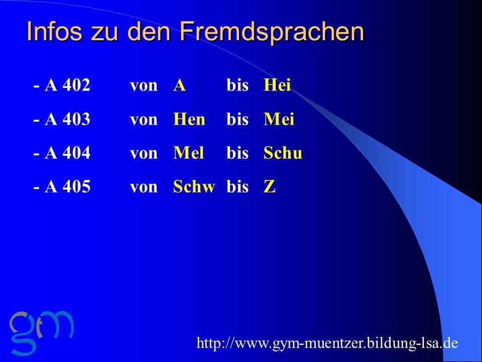 Infos zu den Fremdsprachen