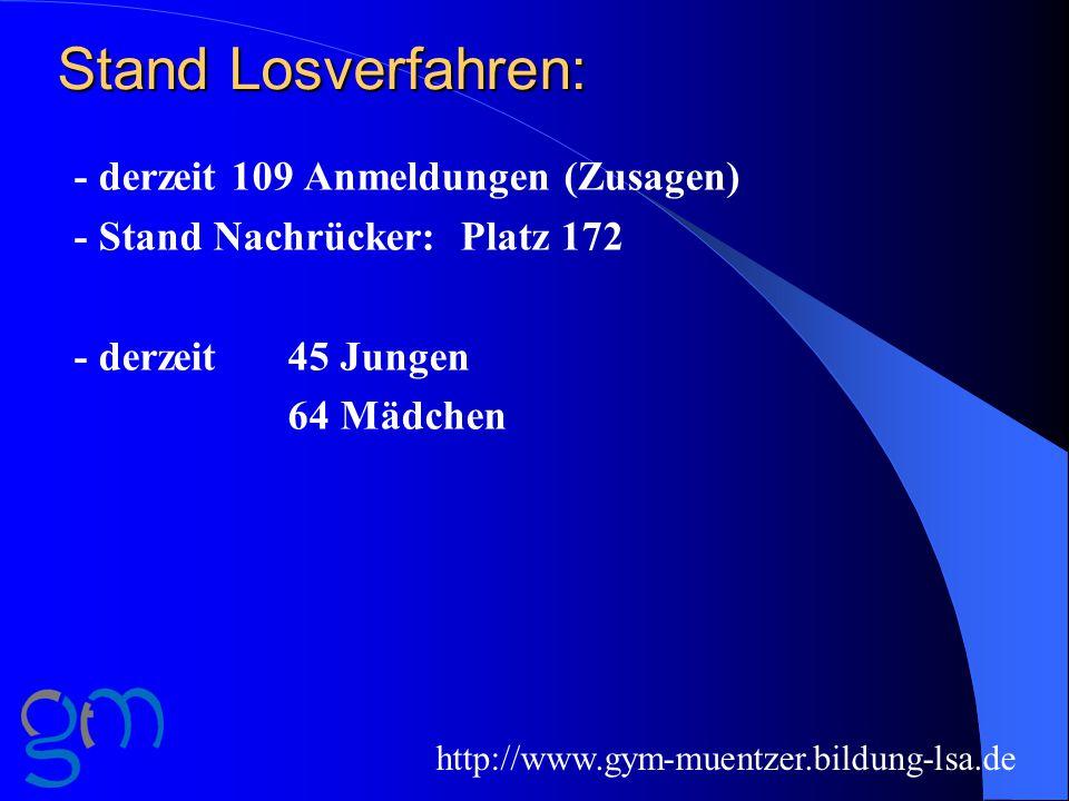 Stand Losverfahren: - derzeit 109 Anmeldungen (Zusagen)
