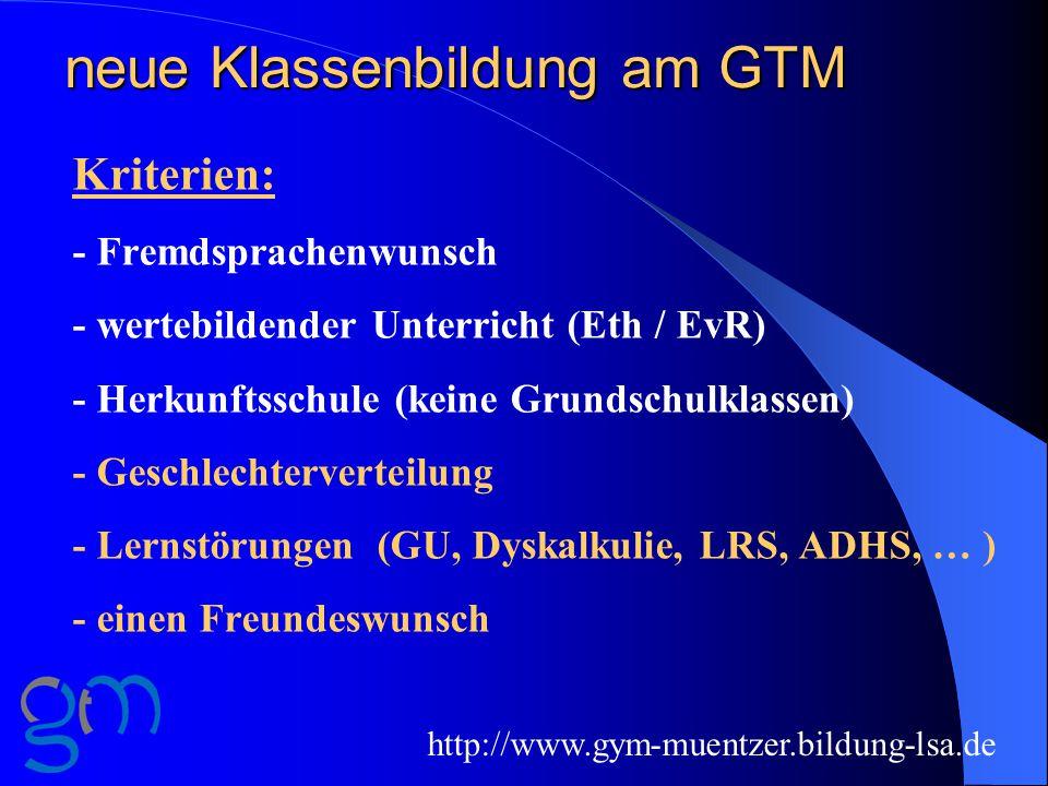 neue Klassenbildung am GTM