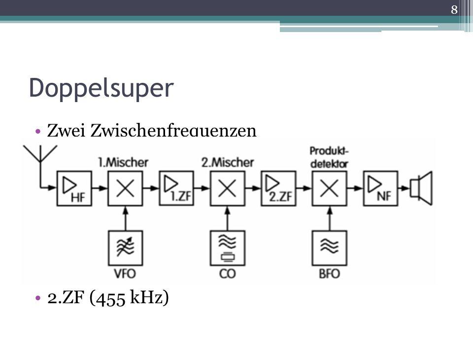 Doppelsuper Zwei Zwischenfrequenzen Spiegelfrequenzunterdrückung