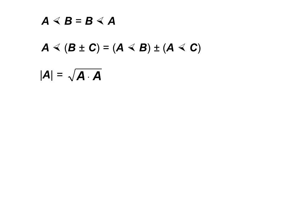 A  B = B  A A  (B ± C) = (A  B) ± (A  C) |A| =