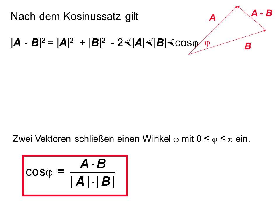 Nach dem Kosinussatz gilt |A - B|2 = |A|2 + |B|2 - 2|A||B|cosj