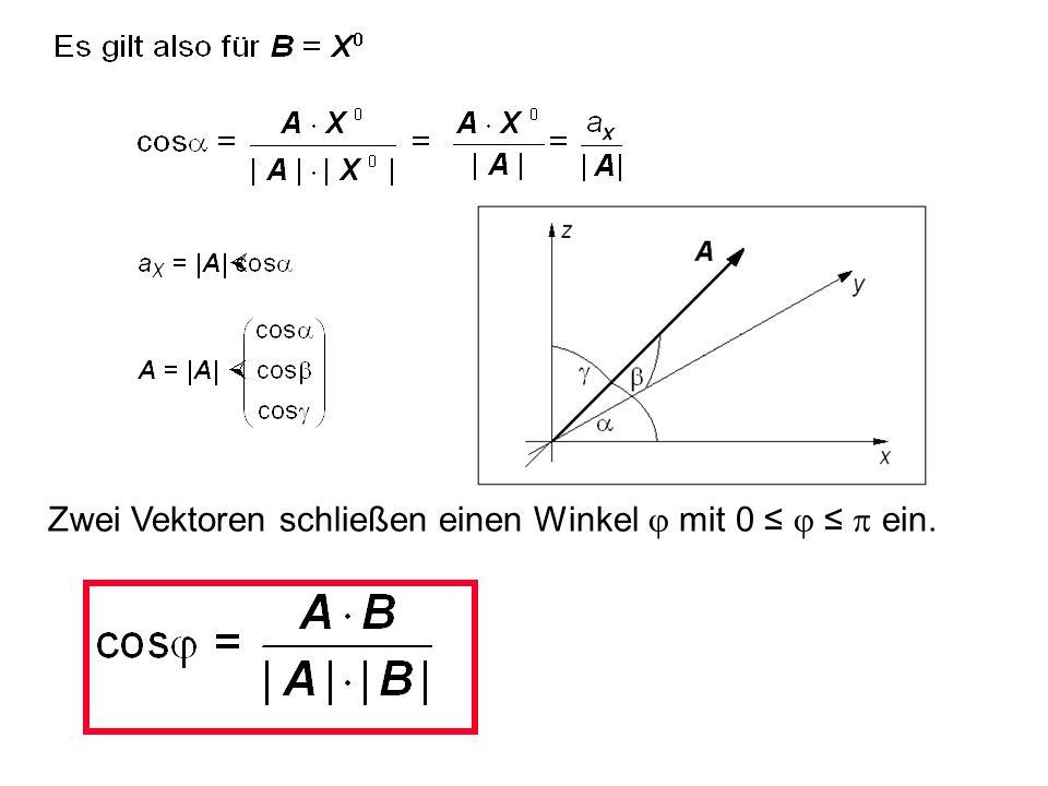 Zwei Vektoren schließen einen Winkel j mit 0 ≤ j ≤ p ein.