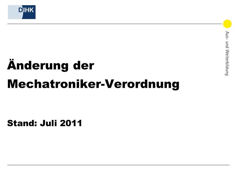 Änderung der Mechatroniker-Verordnung