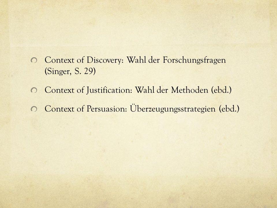 Context of Discovery: Wahl der Forschungsfragen (Singer, S. 29)