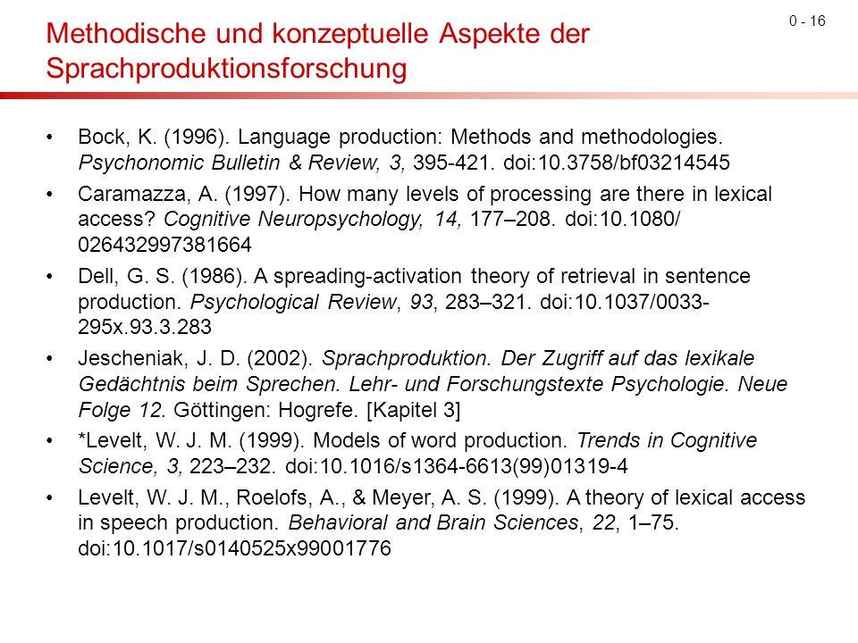 Methodische und konzeptuelle Aspekte der Sprachproduktionsforschung