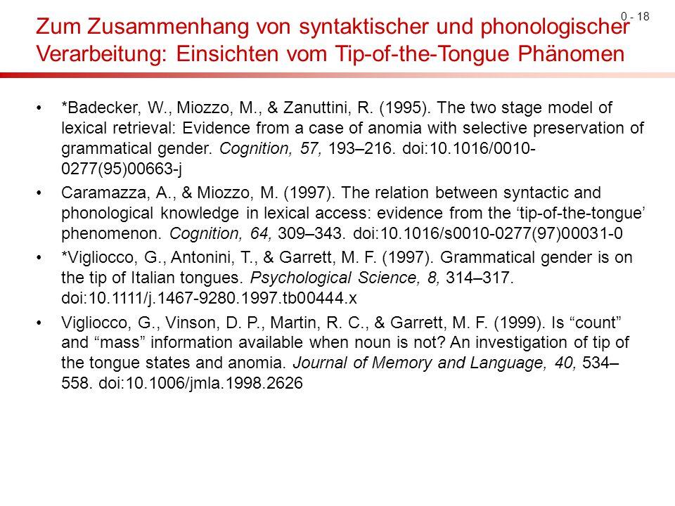Zum Zusammenhang von syntaktischer und phonologischer Verarbeitung: Einsichten vom Tip-of-the-Tongue Phänomen