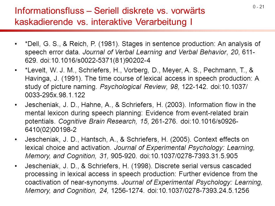 Informationsfluss – Seriell diskrete vs. vorwärts kaskadierende vs