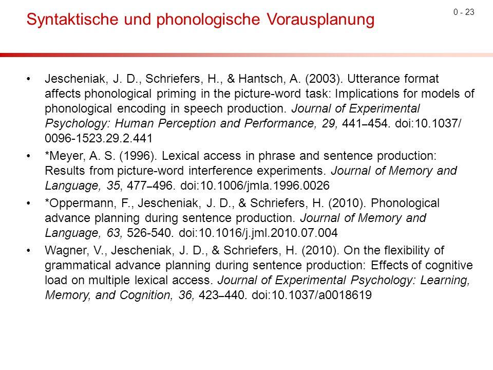 Syntaktische und phonologische Vorausplanung