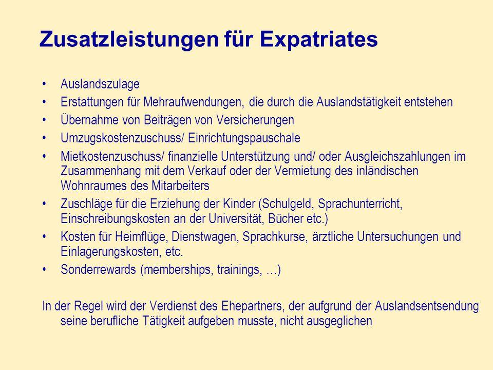 Zusatzleistungen für Expatriates