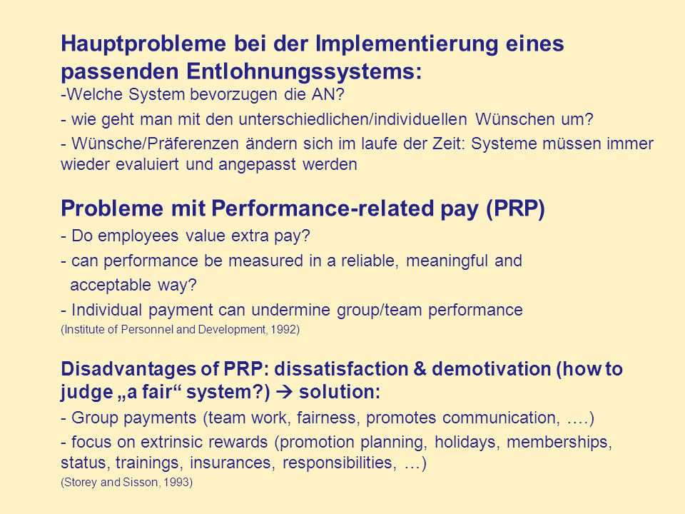 Probleme mit Performance-related pay (PRP)