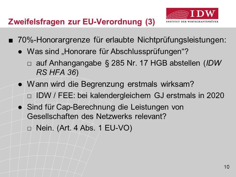 Zweifelsfragen zur EU-Verordnung (3)