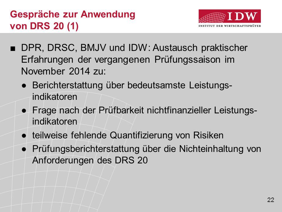 Gespräche zur Anwendung von DRS 20 (1)