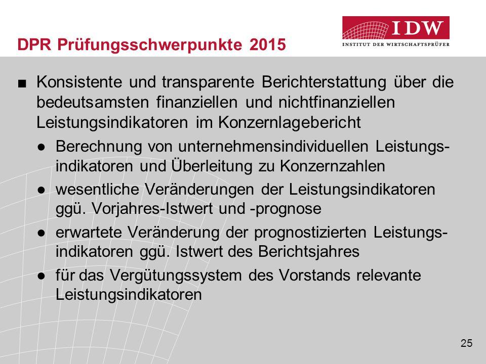 DPR Prüfungsschwerpunkte 2015