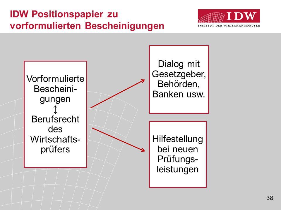 IDW Positionspapier zu vorformulierten Bescheinigungen
