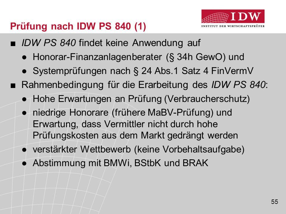 IDW PS 840 findet keine Anwendung auf