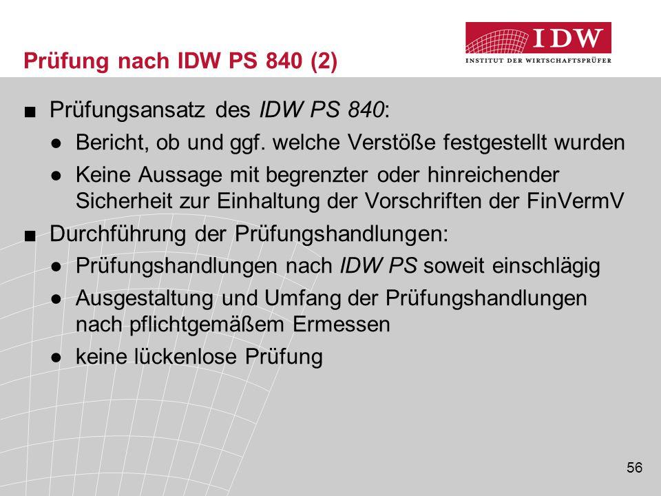 Prüfungsansatz des IDW PS 840: