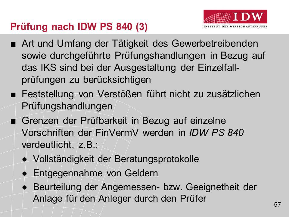 Prüfung nach IDW PS 840 (3)