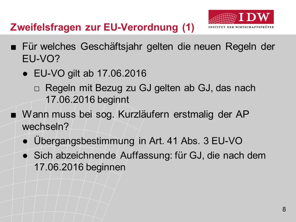 Zweifelsfragen zur EU-Verordnung (1)
