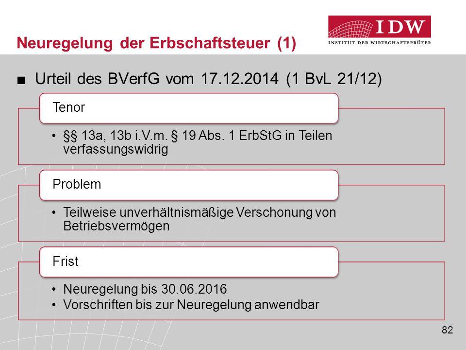 Neuregelung der Erbschaftsteuer (1)