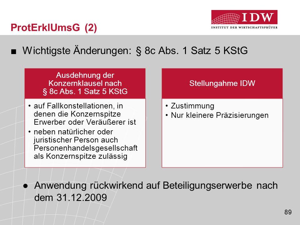Ausdehnung der Konzernklausel nach § 8c Abs. 1 Satz 5 KStG