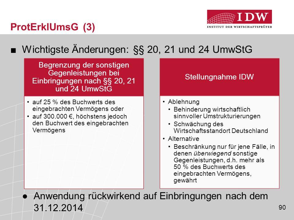 Wichtigste Änderungen: §§ 20, 21 und 24 UmwStG
