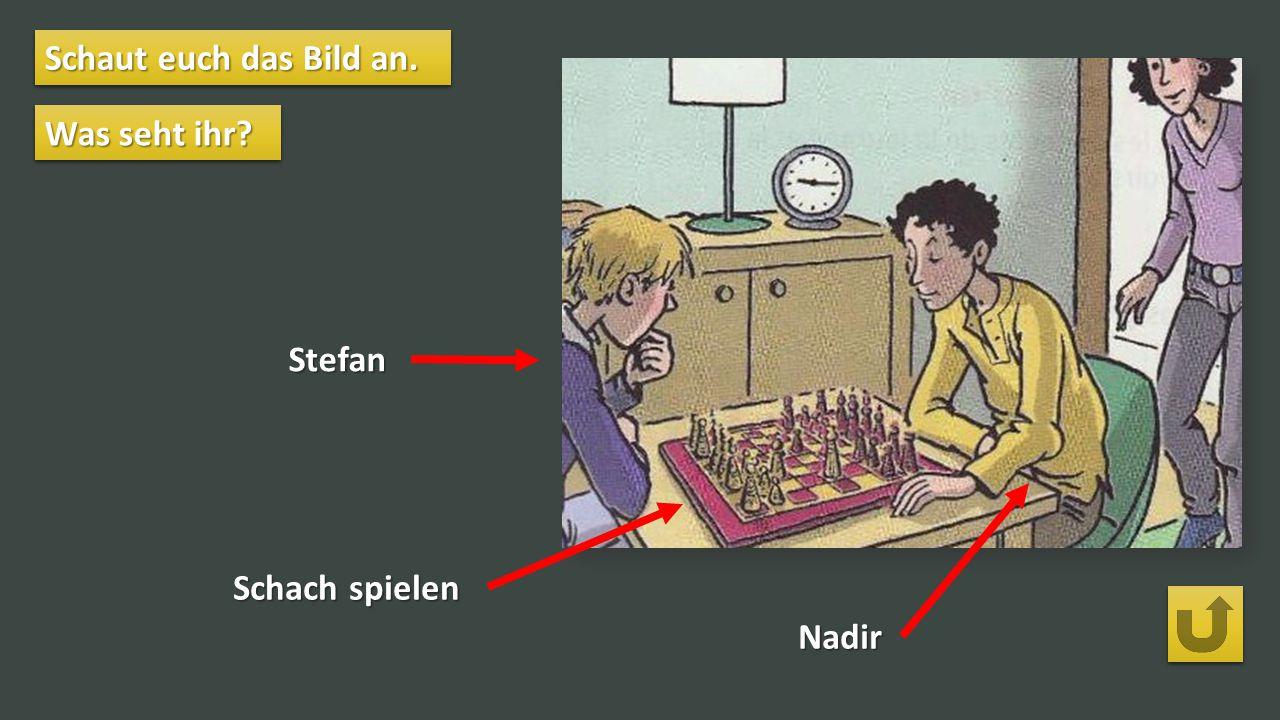 Schaut euch das Bild an. Was seht ihr Stefan Schach spielen Nadir