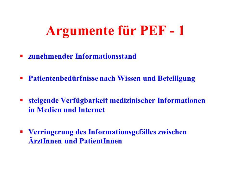 Argumente für PEF - 1 zunehmender Informationsstand